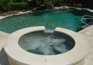 Free Form Pool and Spa with Dark Bottom and Dive Rock