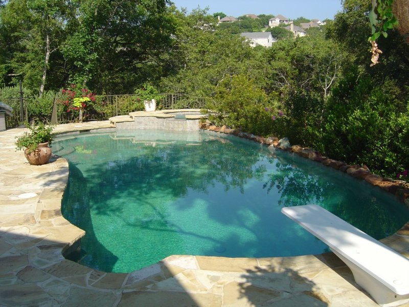 Pool and Spa with Diving Board and Grey Bottom