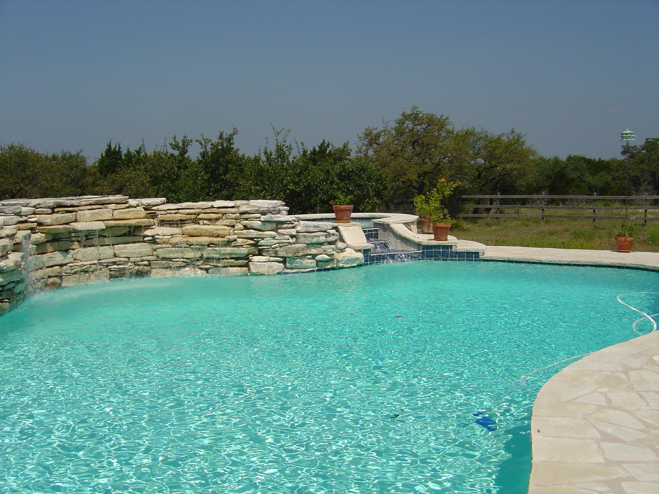 Ranch Pool and Spa with Large Waterfall
